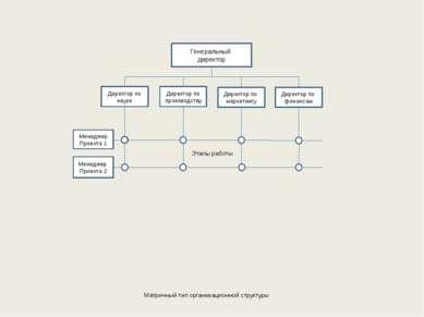 Матричный тип организационной структуры Генеральный директор Директор по наук...
