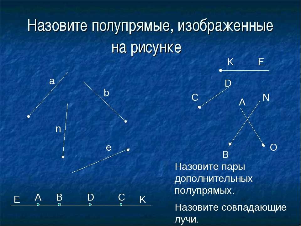 Назовите полупрямые, изображенные на рисунке a b e n K E C D A O N B E A B D ...