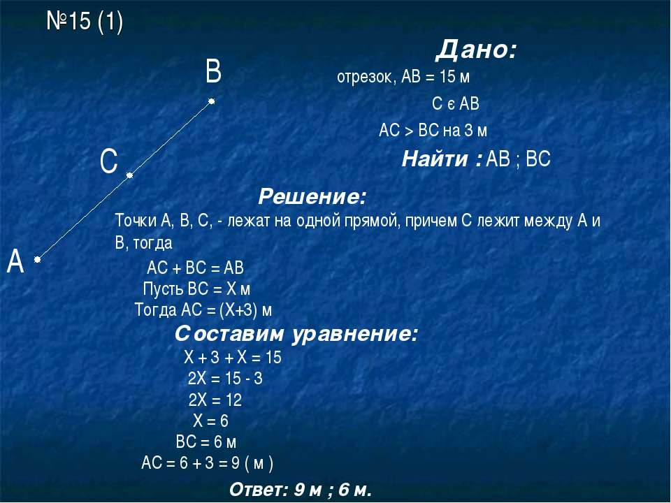 №15 (1) А В С Дано: АВ –отрезок, АВ = 15 м С є АВ АС > ВС на 3 м Найти : АВ ;...
