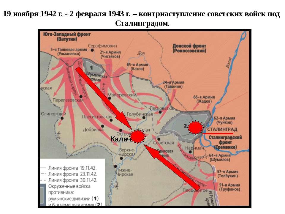 19 ноября 1942 г. - 2 февраля 1943 г. – контрнаступление советских войск под ...