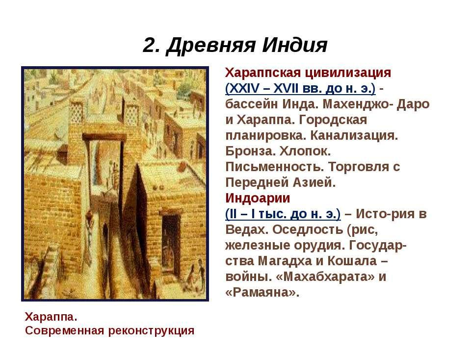 2. Древняя Индия Хараппа. Современная реконструкция Хараппская цивилизация (X...