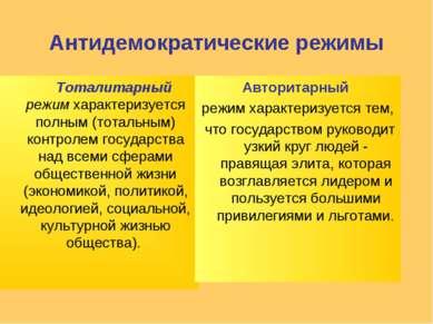 Антидемократические режимы Тоталитарный режимхарактеризуется полным (тотальн...