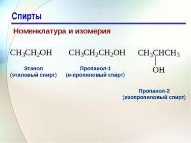 * Спирты Номенклатура и изомерия Этанол (этиловый спирт) Пропанол-1 (н-пропил...