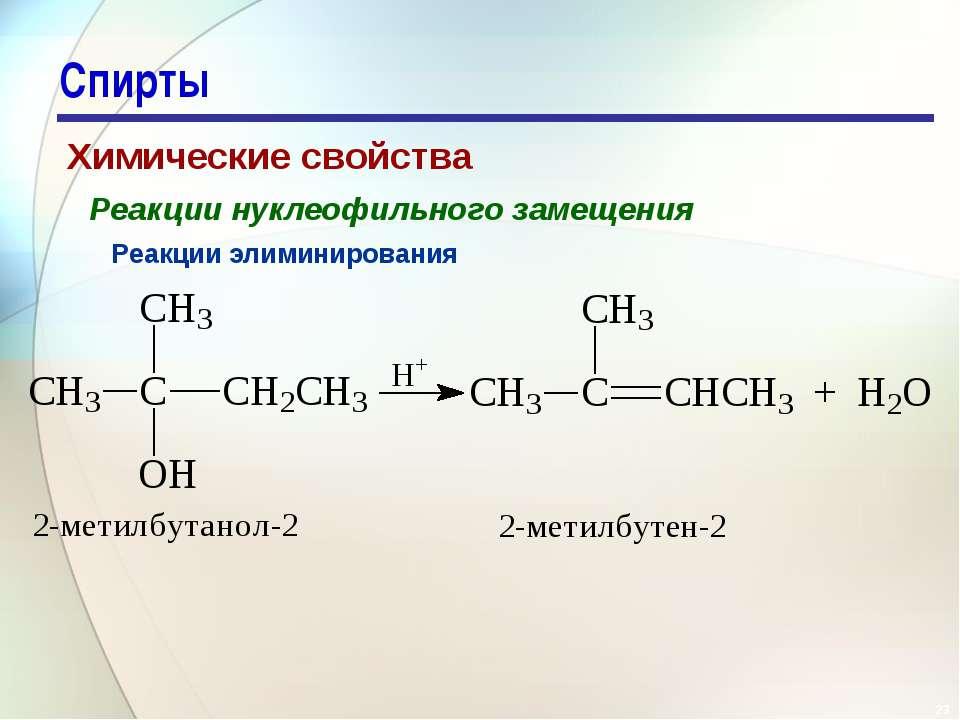 * Спирты Химические свойства Реакции нуклеофильного замещения Реакции элимини...