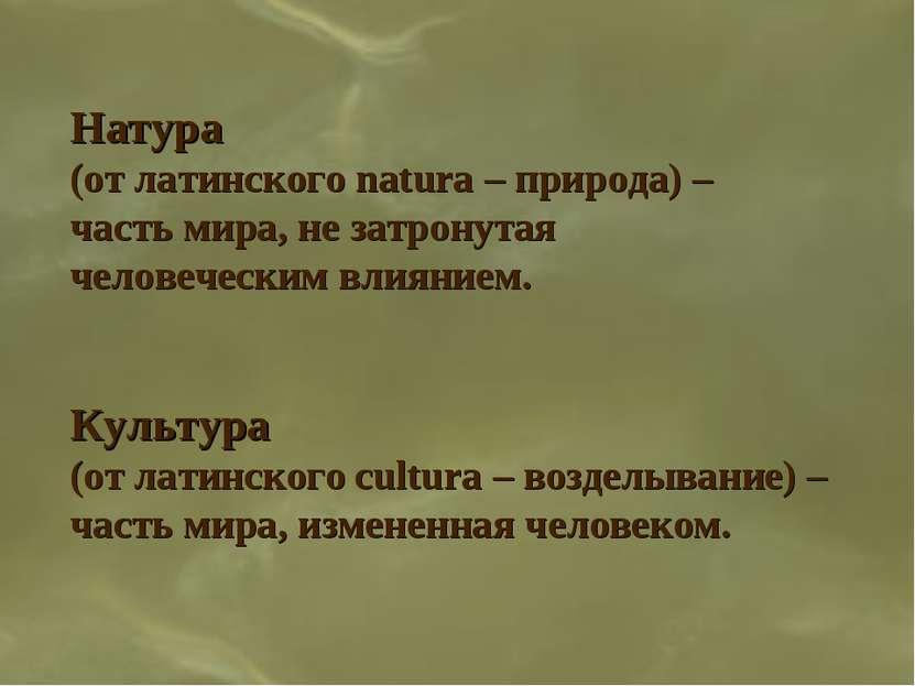 Натура (от латинского natura – природа) – часть мира, не затронутая человечес...