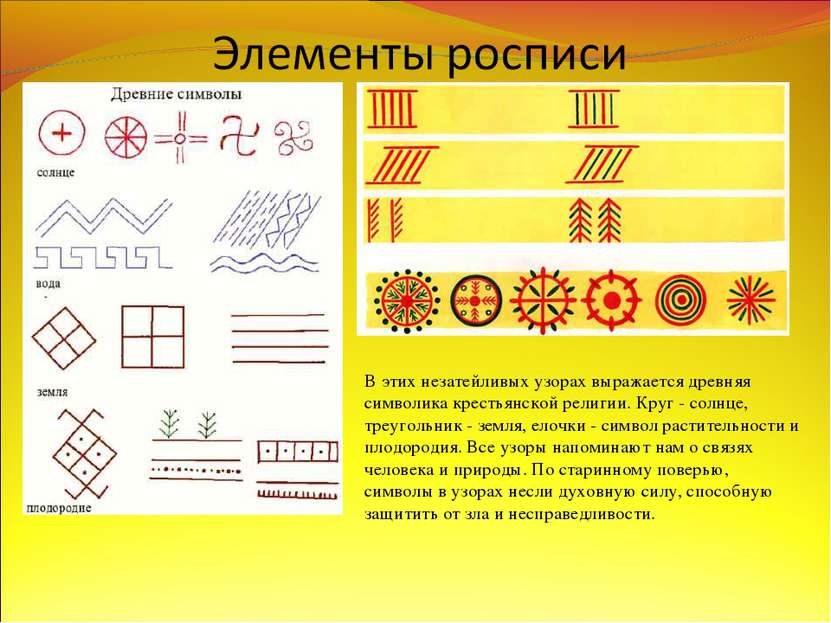 В этих незатейливых узорах выражается древняя символика крестьянской религии....