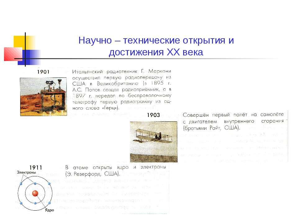 Научно – технические открытия и достижения XX века