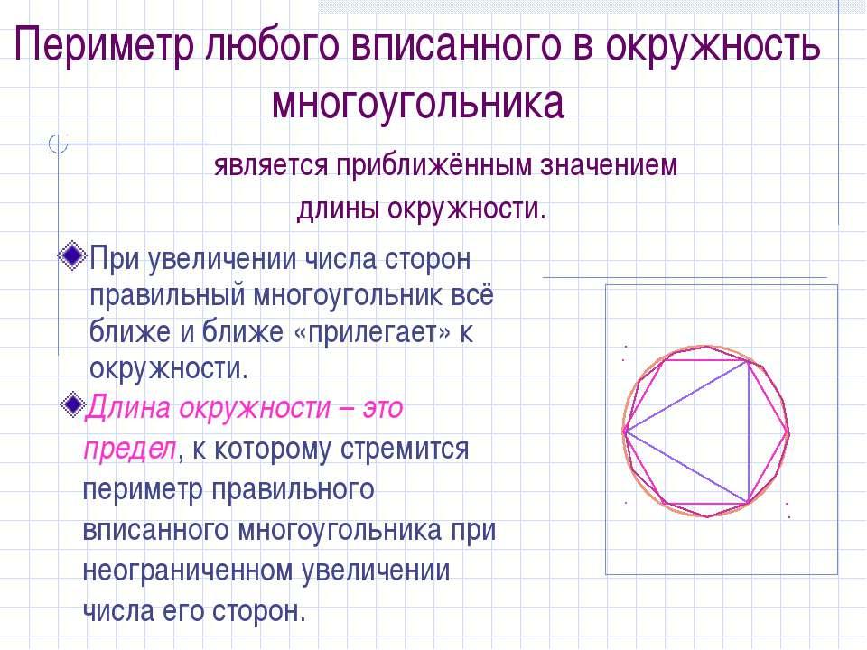 Периметр любого вписанного в окружность многоугольника является приближённым ...