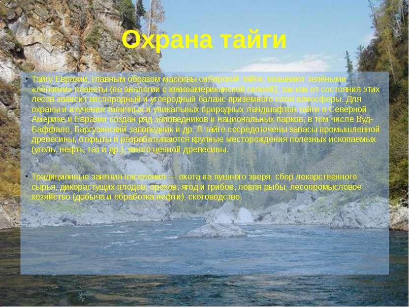 Охрана тайги Тайгу Евразии, главным образом массивы сибирской тайги, называют...