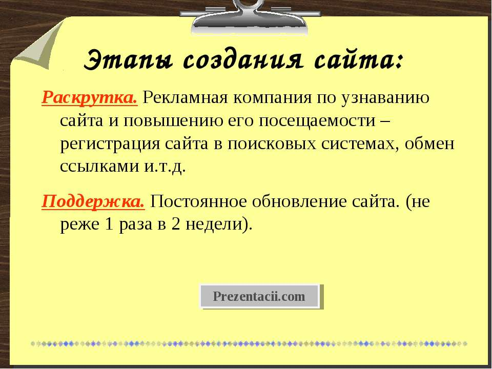 Этапы создания сайта: Раскрутка. Рекламная компания по узнаванию сайта и повы...