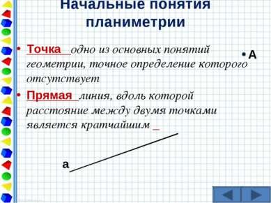 Начальные понятия планиметрии Точка одно из основных понятий геометрии, точно...