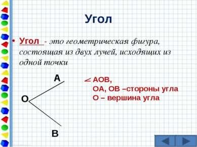 Угол Угол - это геометрическая фигура, состоящая из двух лучей, исходящих из ...