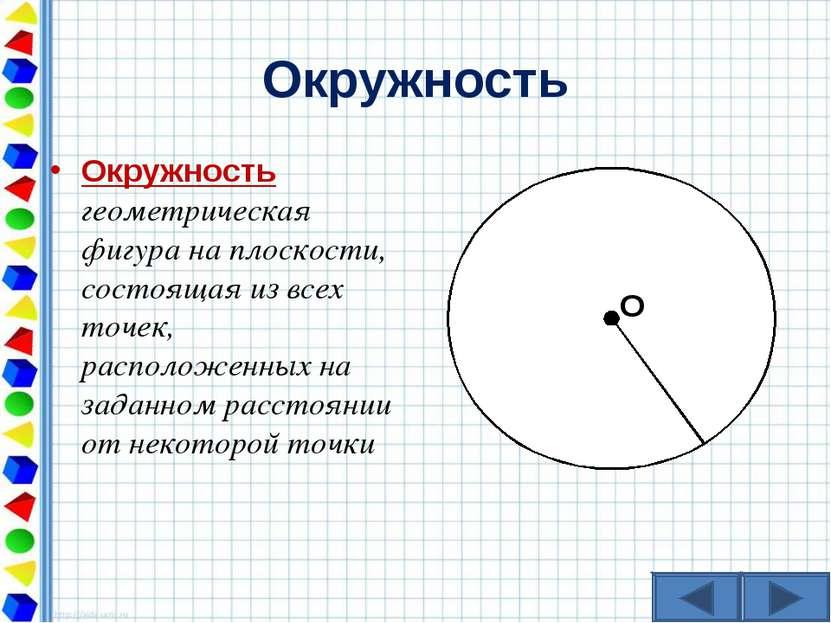 Окружность Окружность геометрическая фигура на плоскости, состоящая из всех т...
