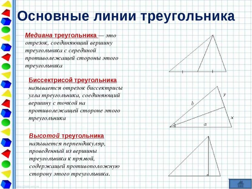Основные линии треугольника Медиана треугольника — это отрезок, соединяющий в...
