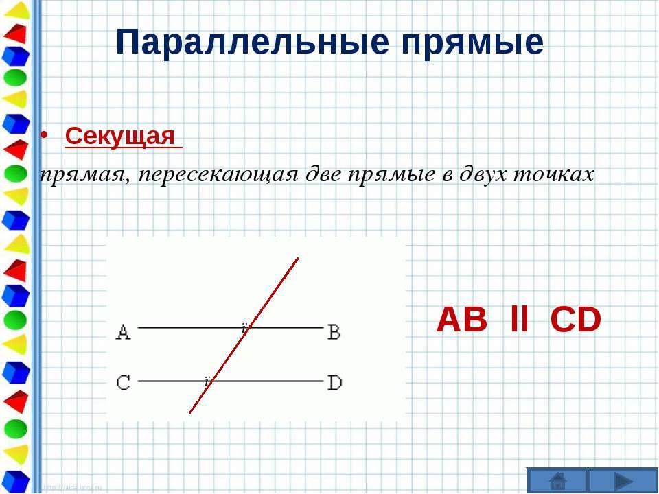 Параллельные прямые Секущая прямая, пересекающая две прямые в двух точках АВ ...