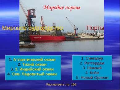 Мировые порты Мировое судоходство Порты Атлантический океан Тихий океан 3. Ин...