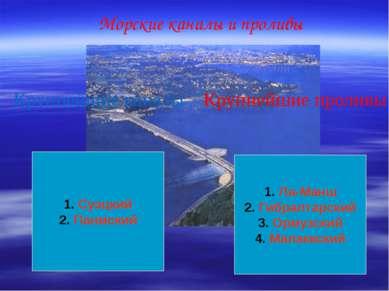 Морские каналы и проливы Крупнейшие каналы Крупнейшие проливы Ла-Манш Гибралт...