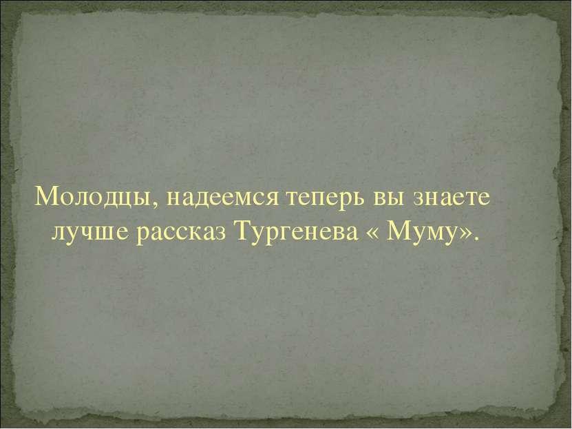 Молодцы, надеемся теперь вы знаете лучше рассказ Тургенева « Муму».