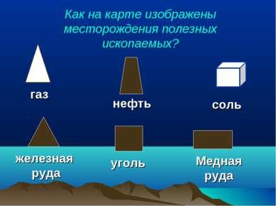 Как на карте изображены месторождения полезных ископаемых? газ нефть соль жел...