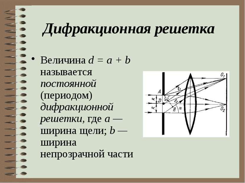 Дифракционная решетка Величина d = a + b называется постоянной (периодом) диф...