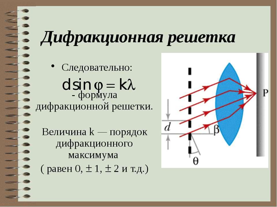 Дифракционная решетка Следовательно: - формула дифракционной решетки. Величин...