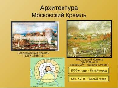Архитектура Московский Кремль Белокаменный Кремль (1367-1368 гг.) Московский ...