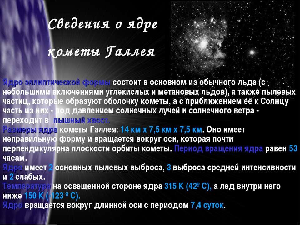 Сведения о ядре кометы Галлея Ядро эллиптической формы состоит в основном из ...