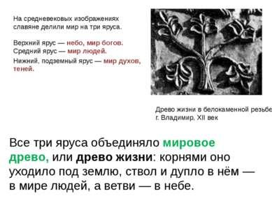 Древо жизни в белокаменной резьбе, г. Владимир, XII век На средневековых изоб...