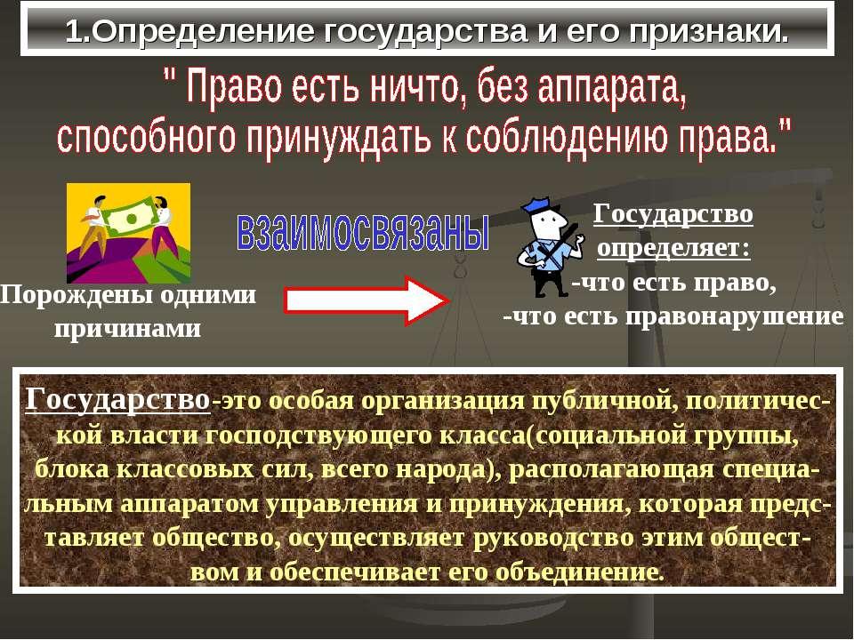 1.Определение государства и его признаки. Государство-это особая организация ...