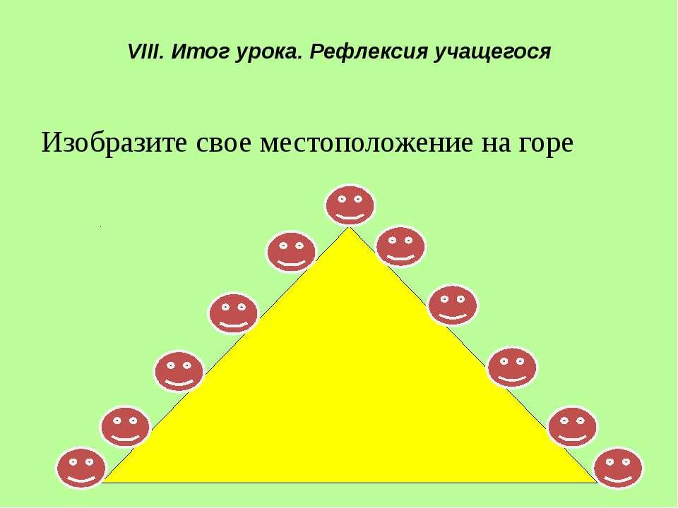 VIII. Итог урока. Рефлексия учащегося Изобразите свое местоположение на горе