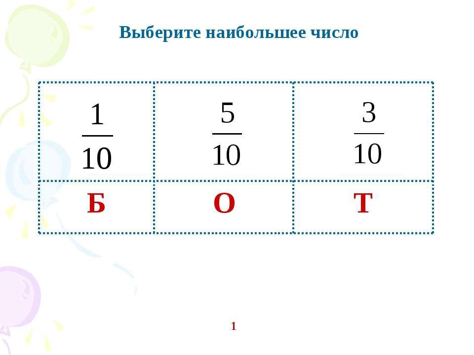 Выберите наибольшее число 1