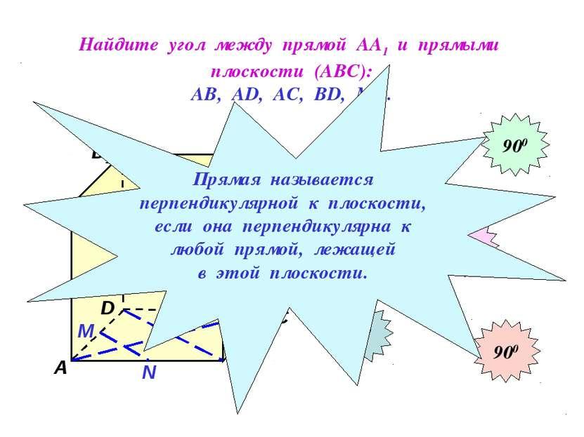 Найдите угол между прямой АА1 и прямыми плоскости (АВС): АВ, АD, АС, ВD, МN. ...