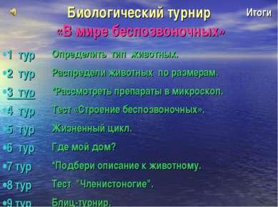 Биологический турнир «В мире беспозвоночных» Итоги