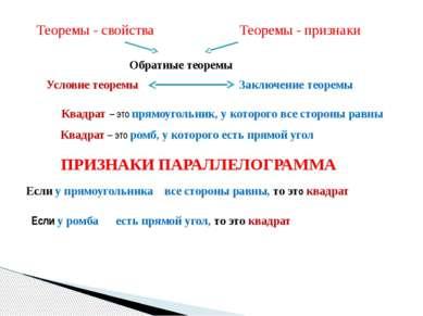 Теоремы - свойства Теоремы - признаки Обратные теоремы Условие теоремы Заключ...