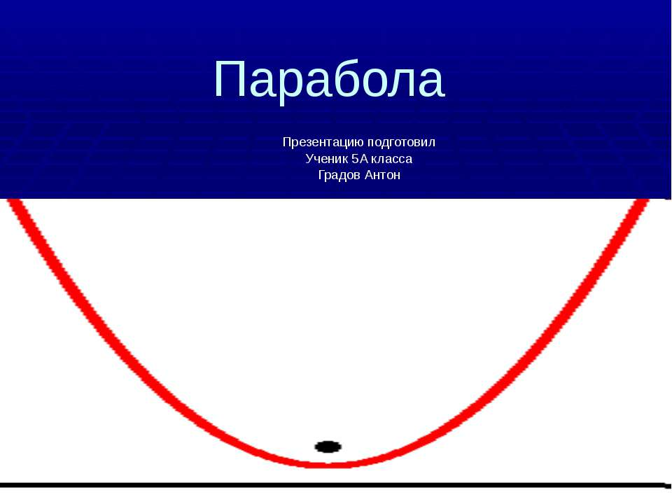 Парабола Презентацию подготовил Ученик 5А класса Градов Антон