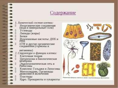 Содержание 1. Химический состав клетки: * Неорганические соединения (вода...