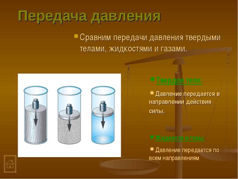 Передача давления Сравним передачи давления твердыми телами, жидкостями и газ...