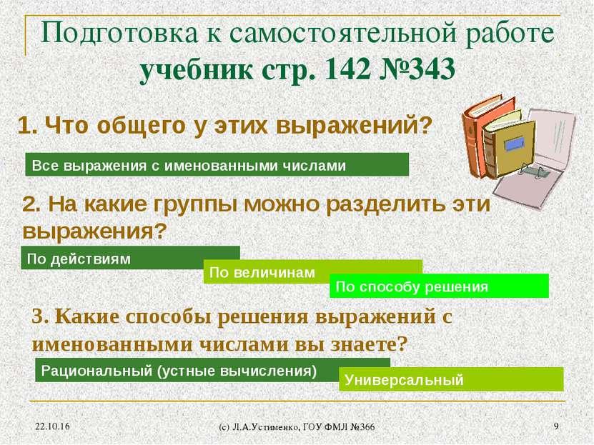 * (c) Л.А.Устименко, ГОУ ФМЛ №366 * Подготовка к самостоятельной работе учебн...
