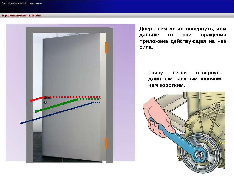 Дверь тем легче повернуть, чем дальше от оси вращения приложена действующая н...