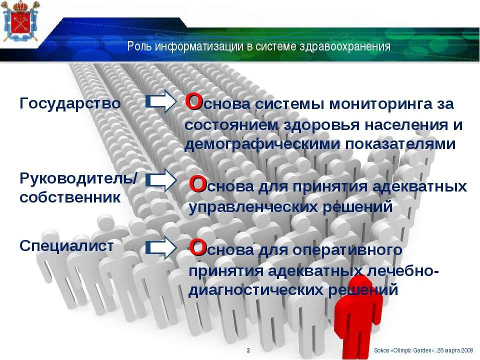 Роль информатизации в системе здравоохранения * Основа системы мониторинга за...
