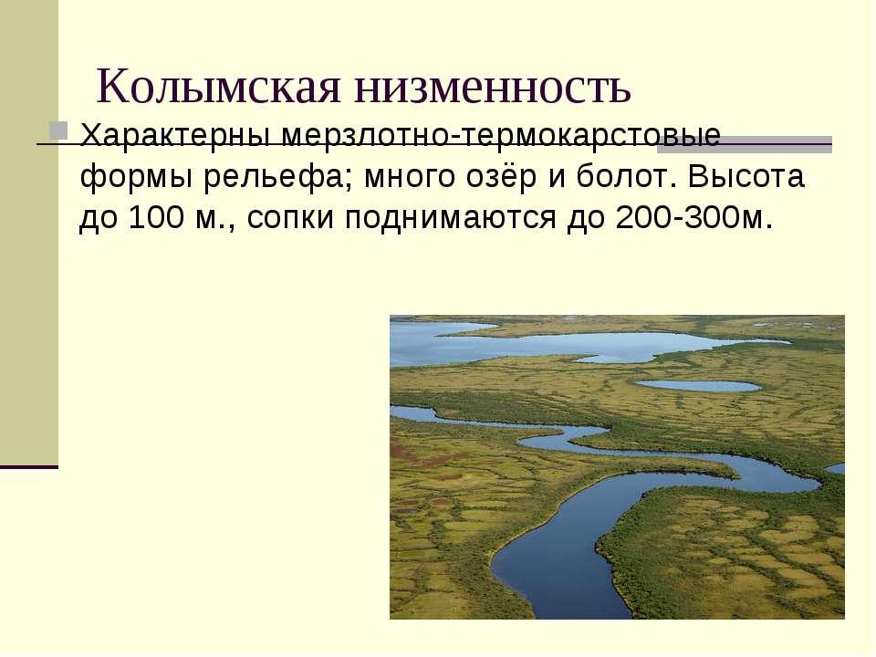 Колымская низменность Характерны мерзлотно-термокарстовые формы рельефа; мног...