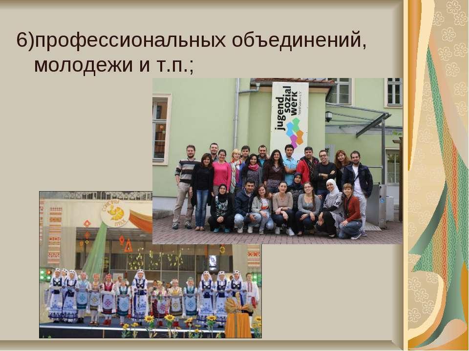 6)профессиональных объединений, молодежи и т.п.;
