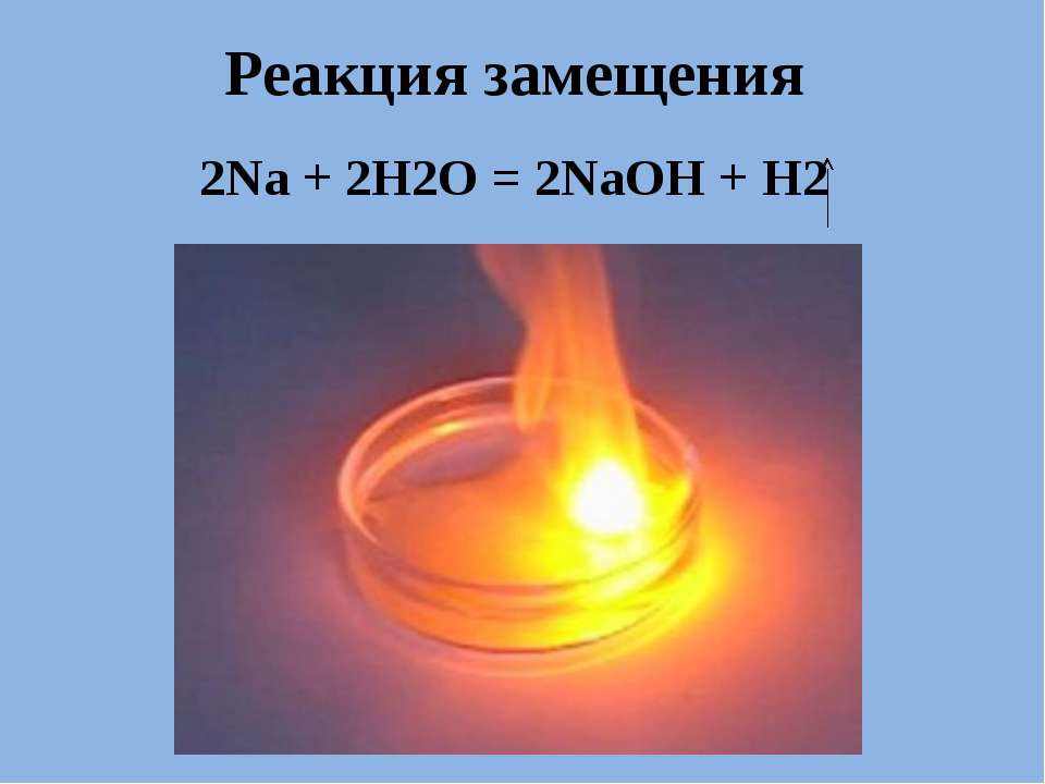 . Реакция замещения 2Na + 2H2O = 2NaOH + H2