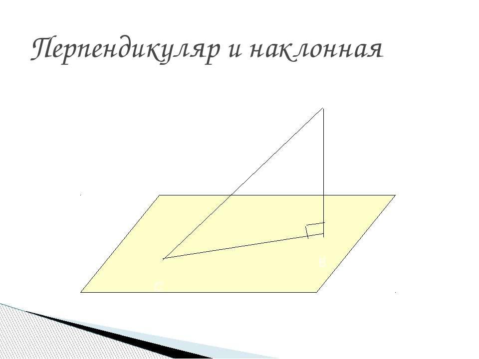 Перпендикуляр и наклонная А В С
