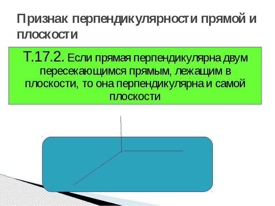 Признак перпендикулярности прямой и плоскости Т.17.2. Если прямая перпендикул...