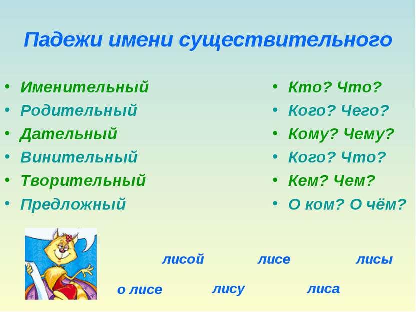 Падежи имени существительного Именительный Родительный Дательный Винительный ...