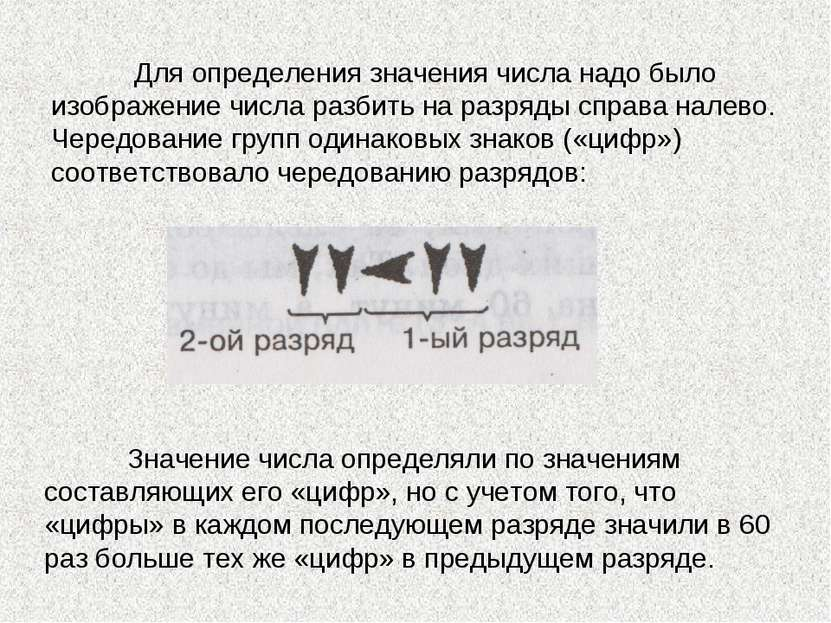 Для определения значения числа надо было изображение числа разбить на разряды...