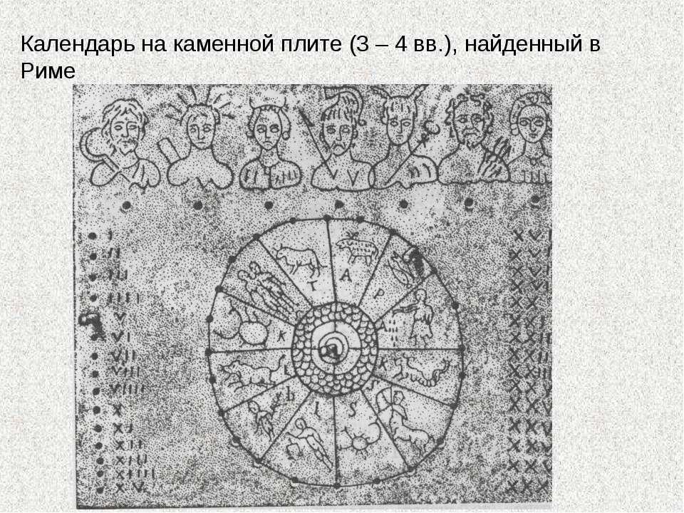 Календарь на каменной плите (3 – 4 вв.), найденный в Риме
