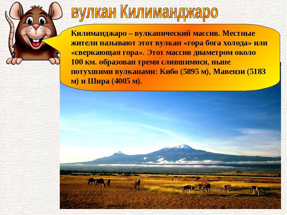 Килиманджаро – вулканический массив. Местные жители называют этот вулкан «гор...