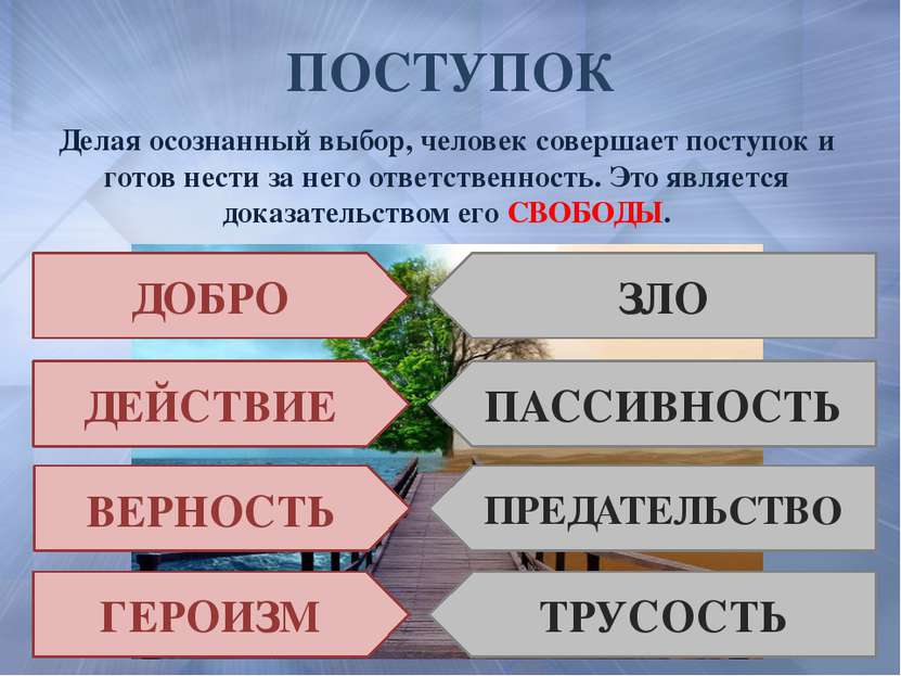 ПОСТУПОК Делая осознанный выбор, человек совершает поступок и готов нести за ...